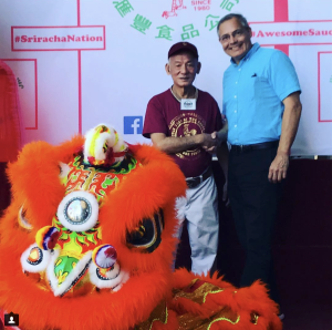 (Oct 2017) Chef Ernie with Mr. David Tran, founder & CEO of Huy Fong Foods & creator of the original Rooster Sauce!